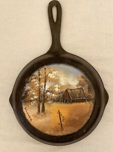 HAND PAINTED Cast Iron Skillet Barn Farm Country 3-Notch Lodge Rustic Gift
