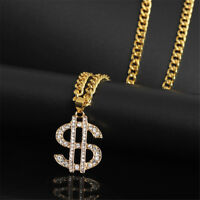 USD Money Sign Pendant Necklace Men's Chain 18K Gold Plated Crystal Jewelry