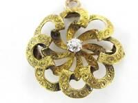 14KT YELLOW GOLD PIN BROOCH VINTAGE CHRISTMAS DIAMOND PENDANT FLORAL 990053064