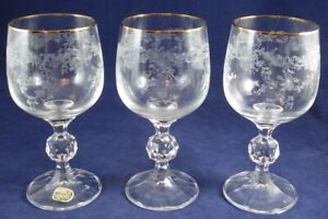 3 Bohemia Crystal Crystalex Etched Wine Goblets Glasses, Queen's Lace