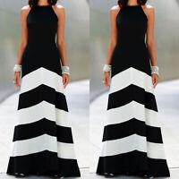 Women Striped Long Maxi Swing Dress Beach Holiday Party Summer Casual Sundress
