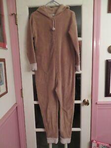 PJ Couture One-Piece Pajamas Women's SP Brown Fleece Reindeer Zipper Front Hood