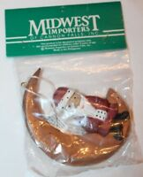 Midwest of Cannon Falls Christmas Tree Wooden Ornament Santa on Crescent Moon
