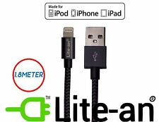 Lite-an® MFi Certified Lightning USB Data Cable for iPhone 7 6 5 iPad 1.8M Black