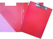 Klemmbrett MIT DECKEL A4 Klemmplatte Mappe Schreibunterlage Clipboard Farbe rot