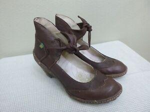 EL NATURALISTA 7 37 Brown Leather Wingtip Ankle Ballet Tie Wedge Heels Pumps