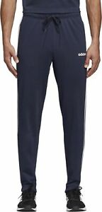 adidas Essential 3 Stripe Mens Joggers Navy French Terry Tapered Sports Style
