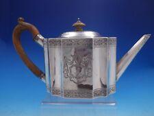 Georgian Joseph Scammell English Sterling Silver Tea Pot Wood Handle (#4084)