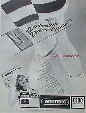 PUBLICITE GRUNDIG C100 CASSETTE JUKE BOX PORTATIF DE 1966 FRENCH AD PUB VINTAGE