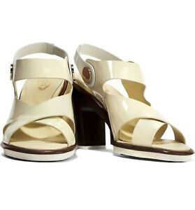 TOD'S Italian Patent Leather Sandals in Off White US SZ 8.5 - BRAND NEW in BOX!
