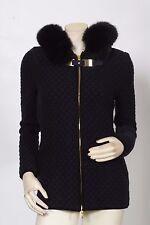 BLUMARINE Cableknit + Fox Fur Hooded Navy Blue Knit Jacket XS US 2 IT 38 $1,750
