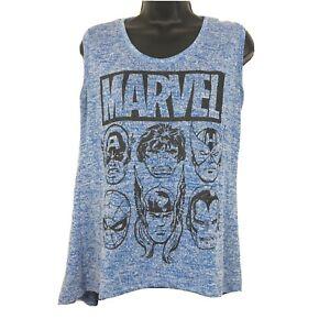 Marvel Avengers Women's L Blue Tank Top Thick Thor Iron Man Cptn America Hulk