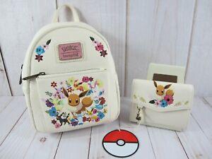 Loungefly Pokemon Eevee Eeveelutions Floral Backpack & Wallet ~ NWT W/ Defect