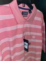 Men's Chaps Pink/White Striped Short Sleeve Polo Shirt Size 2XL NWT MSRP: $45