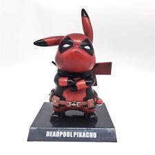 Anime Pokemon Marvel Deadpool Pikachu Cosplay Red PVC Figure Figurine 15cm NB