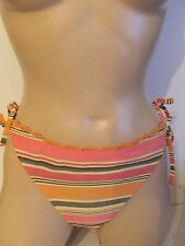 PER UNA ORANGE LEMON STRIPED TIE SIDED BIKINI BRIEFS SIZE 14