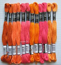 Stickgarn 12 Docken ♥ORANGE-PINK♥ mit Sticktwist aus Baumwolle sticken -14