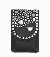 Zigarettenetui Strass Leder Zigarettenbox Standard Packung schwarz von LEDASS92