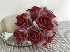6 Bunches Colourfast Foam Roses Flowers Bouquet Wrapped in Tulle 8cm 22 Colours Burgundy