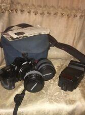 Minolta Maxxium 3000I Camera W/ Quantaray 70mm & 210mm Lens & Flash & Bag
