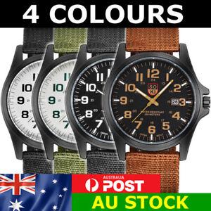 Men's Military Wrist Watch Nylon Strap Sports Casual Brown Black Green #029