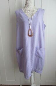 Next Lilac Linen Sleeveless Dress Size 18