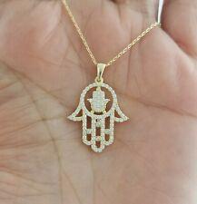 Women 14K Gold Hamsa Hand Charm Pendant Chain Necklace