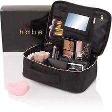 habe Travel Makeup Bag with Mirror - Premium Vegan Designer Make Up Bag Organ.