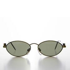 Industrial Bronze Frame Oval 90s Steampunk Sunglass Green Lens- Erin