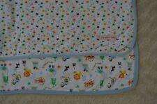 Magnificent Baby Circus Animal Blanket Star White Blue Lion Elephant Tiger Dog