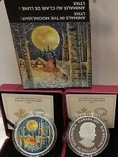 2017 Moonlight Glow-in-Dark 2OZ Pure Silver $30 Canada Lynx Coin, Mintage 4000.