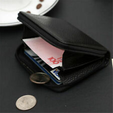 Men PU Leather Mini Zip Wallet ID Card Holder Case Coin Purse Pocket Money Clip