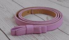 "Ladies Faux Leather Skinny Pink Belt with Bow  32""-35""  ½""  wide"