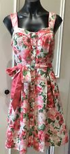 Review Dress size 12 Pink roses as new lined straps stunning linen viscose blend