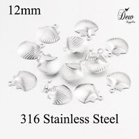 100 x 316 stainless steel shell charms 12mm jewellery pendants findings filigree