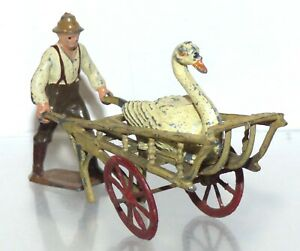 FF27 Britains Coster with Britains cart, and seated swan