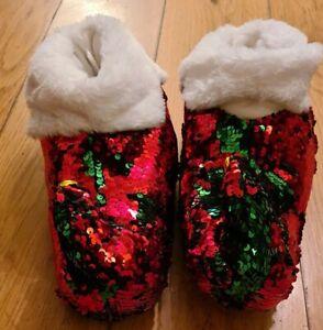Christmas Elf Slippers Size 6/7 Jingle Bells Sequins Women Novelty Bootie