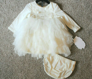 Baby Biscotti Ivory Gold Tulle Ruffle Sequin Dress Set Size 6-9 Mos 18M 18 NWT