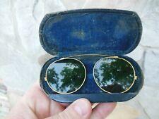 Vintage Aviator Clip On Sun Shades For Eye Glasses Sunglasses Green Lens
