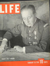 Life Magazine WWII Feb. 20 1939 France's Commander,Carole Lombard, And More