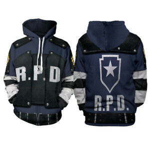 Resident Evil Hoodies Leon Scott Kennedy 3D Printed Pullover Cosplay Jacket Coat