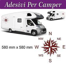 2 Adesivi per Camper - Rosa dei Venti -  580X580 mm - AMARANTO - NOVITà