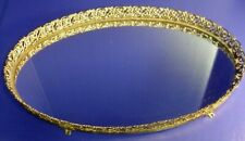 "Large Oval Vanity Mirrored Tray Filigree Brass Perfume Makeup 16 x 10"" - Footed"