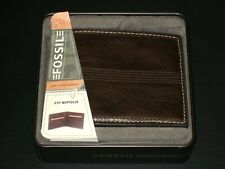 Fossil Quentin Zip Bifold Men's Wallet Brown Leather w/ tin case