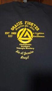 GRACIE MMA FIGHTER Jiu Jitsu FC FIGHTING CHAMPIONSHIP T shirt  2 sided