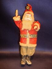 """Antique 6 1/4"""" Standing Santa Figure Hand Painted Compo Face"""