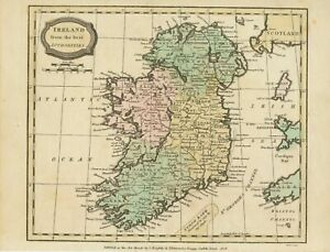 MAP IRELAND 1820 superb 200 years old handcoloured map 20cm x 25,5cm C.Brightly
