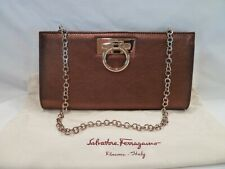 Salvatore Ferragamo Bronze Norina Clutch Purse