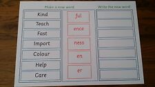 Make a new word using common Suffixes  - A4 Laminated Poster- Phase 6 - year 2