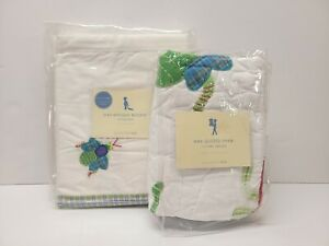 POTTERY BARN KIDS Hand Quilted Crib Bedskirt And Quilted Sham BUGS NWT